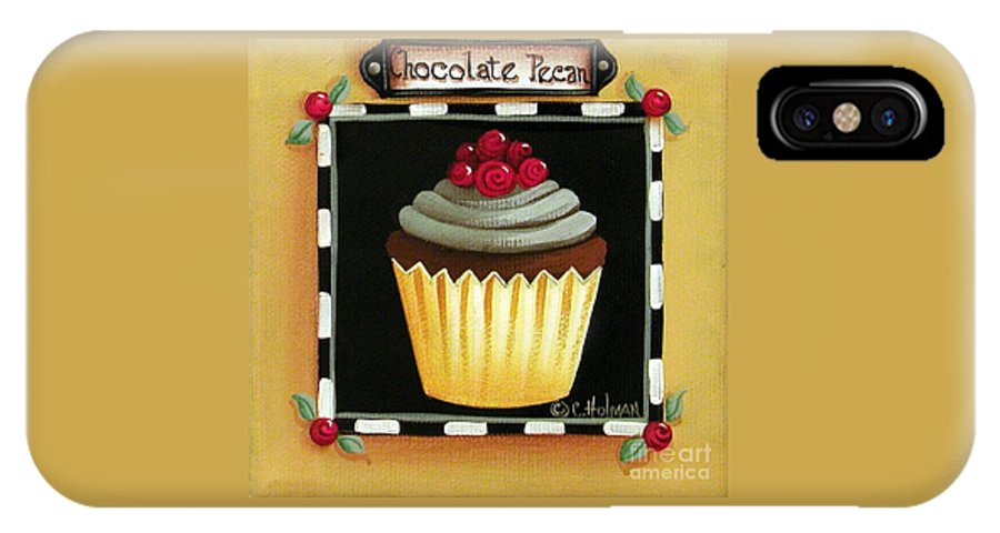 Art IPhone X Case featuring the painting Chocolate Pecan Cupcake by Catherine Holman