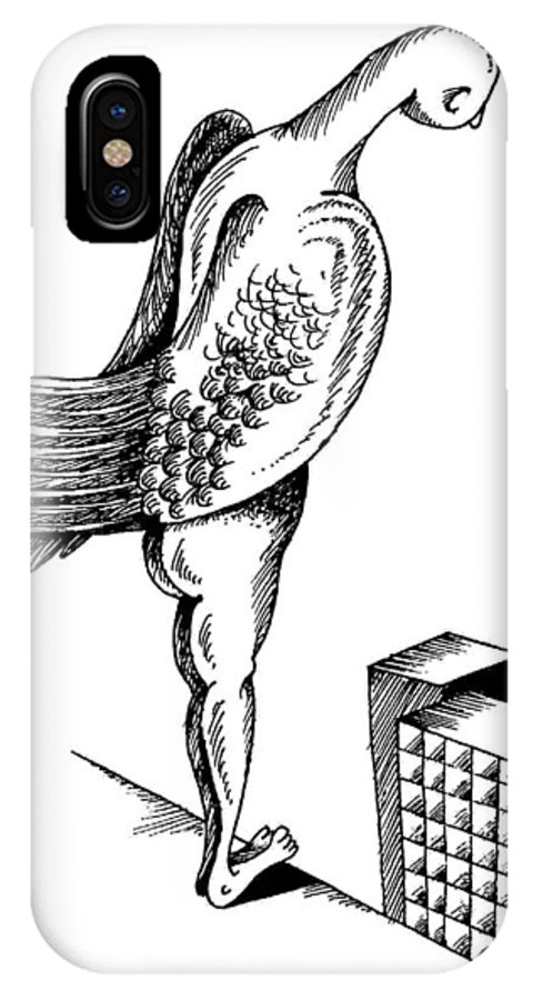 Angel IPhone X Case featuring the drawing Choice by Victor Koryagin