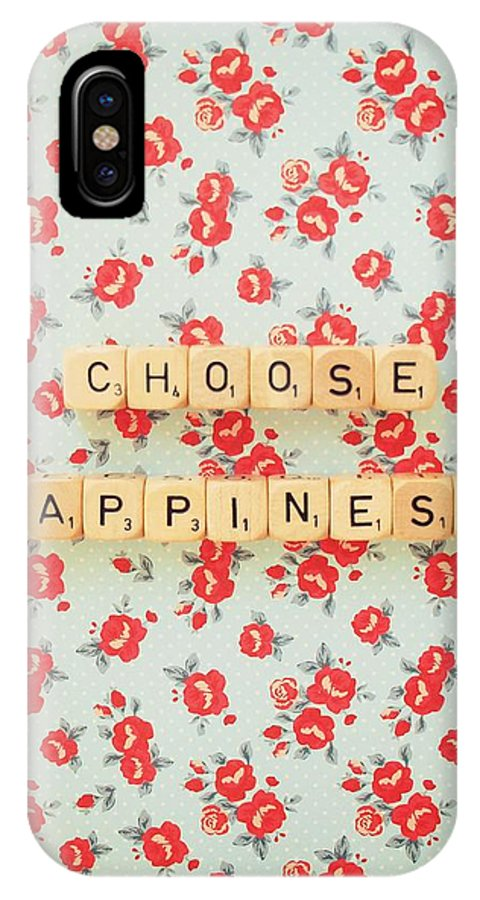 Scrabble Blocks IPhone X Case featuring the photograph Choose Happiness by Mable Tan