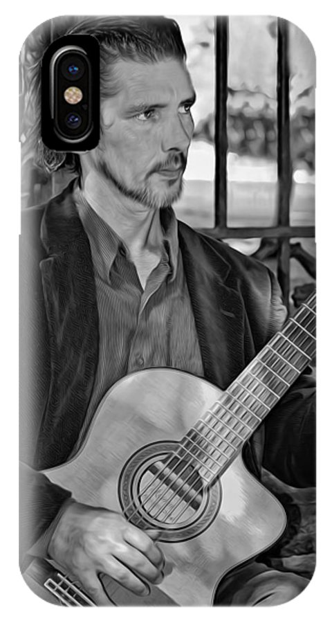 Jackson Square IPhone X / XS Case featuring the photograph Chris Craig - New Orleans Musician Bw by Steve Harrington