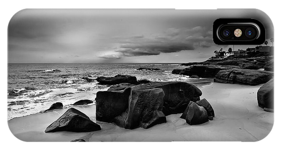 Beach IPhone X Case featuring the photograph Chris's Rock 2013 Black And White by Peter Tellone