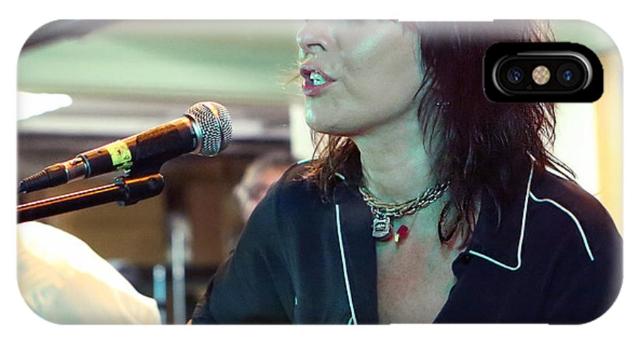 Art IPhone X / XS Case featuring the photograph Chrissie Hynde Acoustic By Denise Dube by Denise Dube