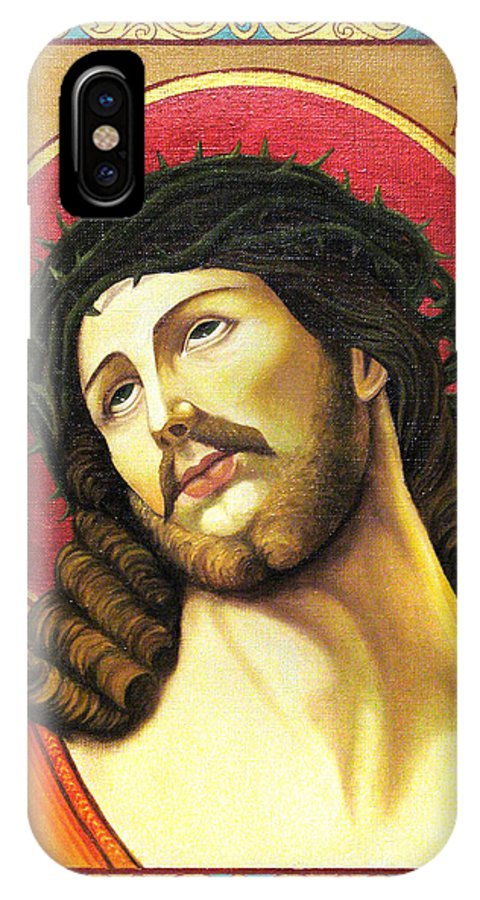 Christ IPhone X Case featuring the painting Christ Crowned With Thorns by Oksana Nabok