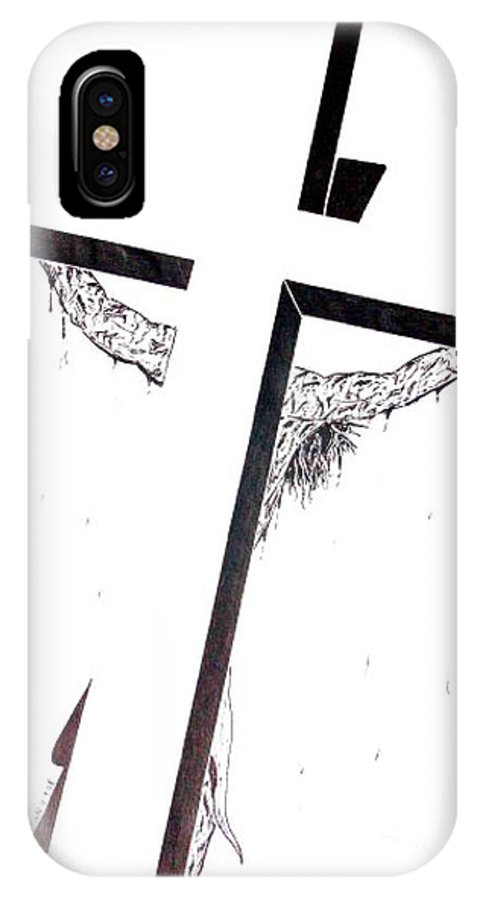 Christ IPhone X Case featuring the drawing Christ On Cross by Justin Moore