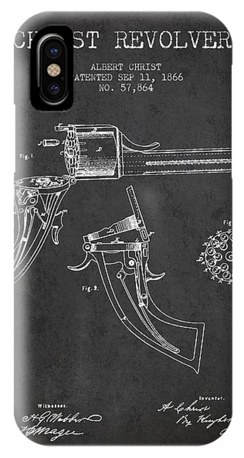 Pistol Patent IPhone X / XS Case featuring the digital art Christ Revolver Patent Drawing From 1866 - Dark by Aged Pixel