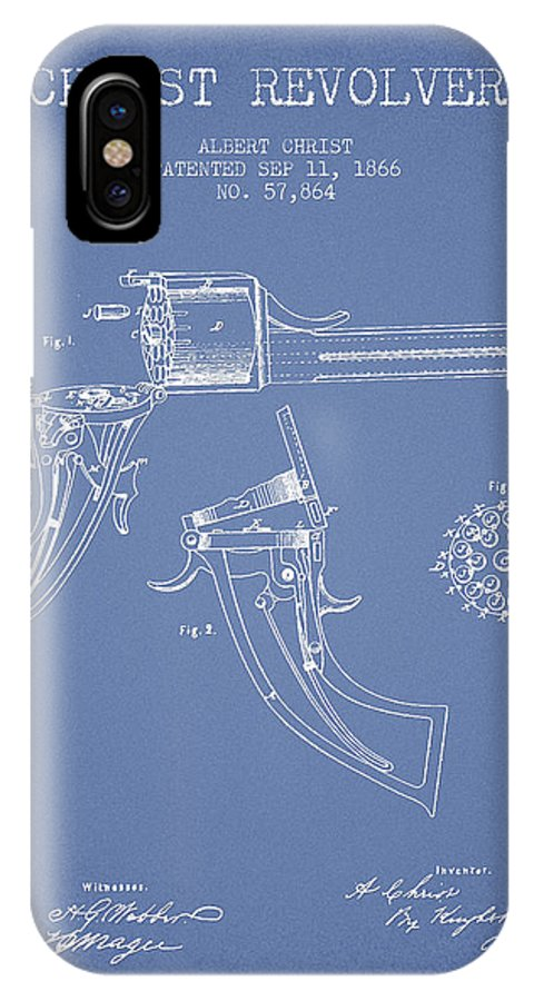 Pistol Patent IPhone X / XS Case featuring the digital art Christ Revolver Patent Drawing From 1866 - Light Blue by Aged Pixel