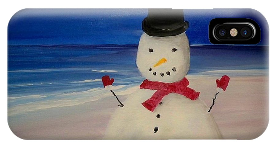 Christmas Card IPhone X Case featuring the painting Christmas Card 1 by Linda Bright Toth