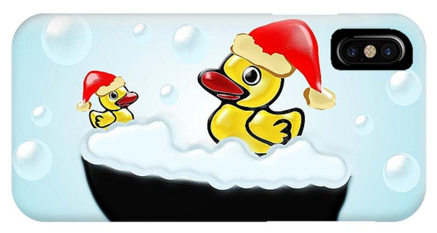 Interior IPhone X Case featuring the digital art Christmas Ducks by Anastasiya Malakhova