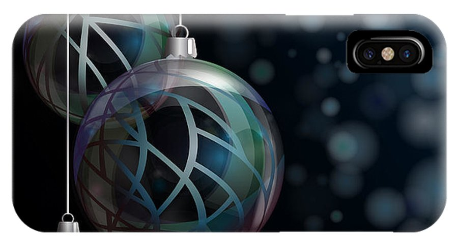 Abstract IPhone X Case featuring the photograph Christmas Elegant Glass Baubles by Jane Rix