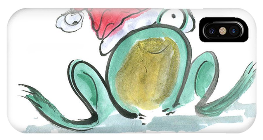 Sumi-e IPhone X Case featuring the painting Christmas Frog by Ellen Miffitt