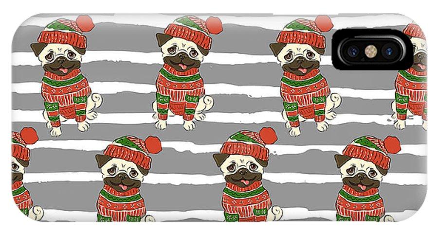 Pug IPhone X Case featuring the digital art Christmas Holidays Seamless Vector by Nikolaeva
