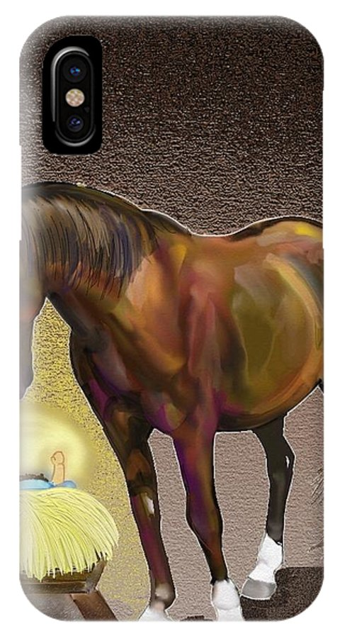Christmas IPhone X Case featuring the painting Christmas Horse by Marie Clark