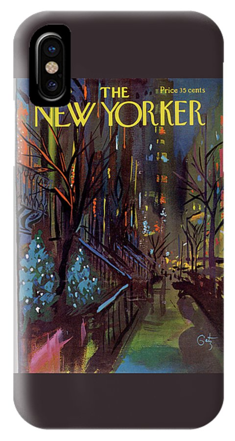 Christmas Xmas Holiday Urban City Manhattan New York City Tree Decoration Decorations Arthur Getz Agt Sumnerok Artkey 49880 Topgetz IPhone X Case featuring the painting Christmas In New York by Arthur Getz