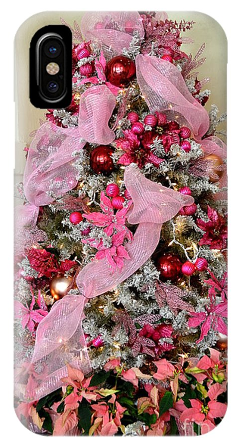 Christmas IPhone X Case featuring the photograph Christmas Pink by Mary Deal