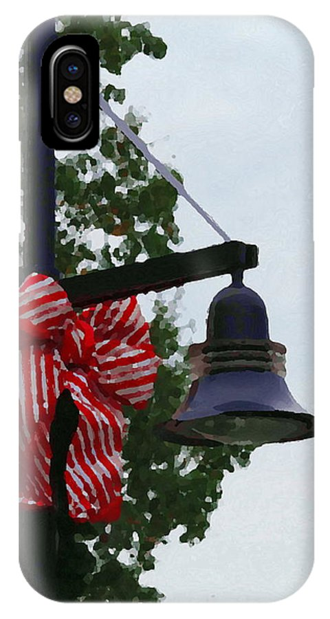 Christmas IPhone X Case featuring the photograph Christmas Post And Bow by Cathy Lindsey