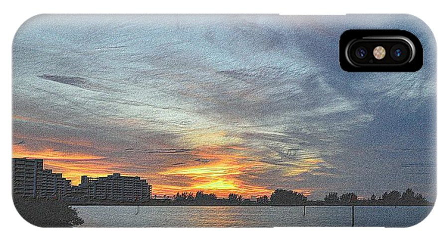Florida IPhone X Case featuring the drawing Christmas Sunset 3 by Richard Zentner