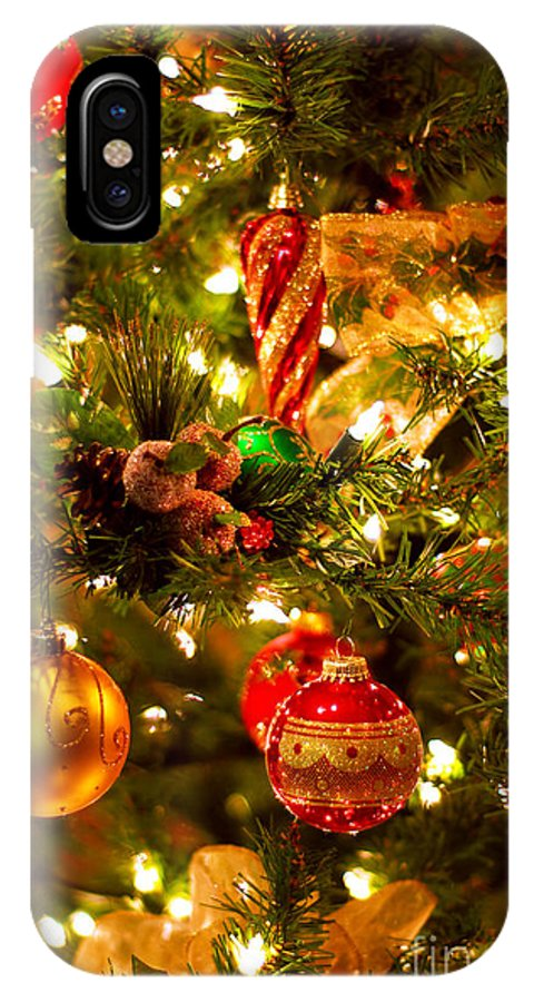 Christmas Iphone X Case.Christmas Tree Background Iphone X Case