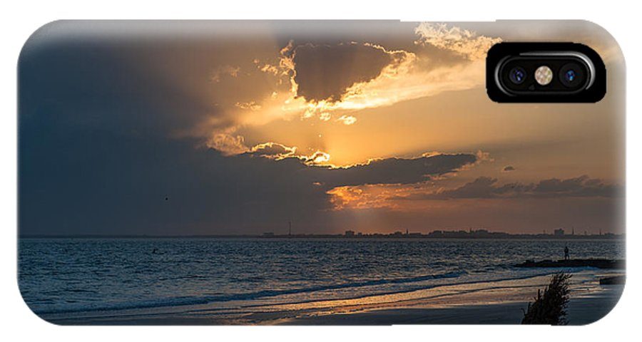 Sunset IPhone X Case featuring the photograph Christmas Tree On Beach by Dale Powell