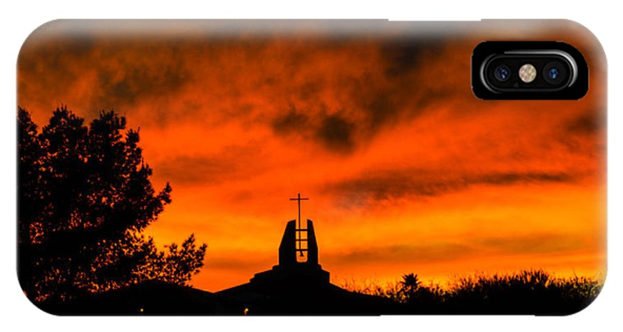 Sunset IPhone X Case featuring the photograph Church Cross Lit By Tucson Sunset by Michael Moriarty