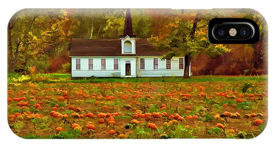 Autumn Landscape Of Pumpkin Patch With Country Church In The Background IPhone X Case featuring the photograph Church In A Pumpkin Patch by Elaine Walsh