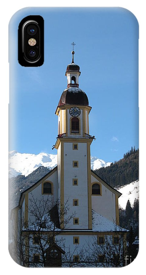 Church IPhone X Case featuring the photograph Church In The Austrian Alps by Christiane Schulze Art And Photography