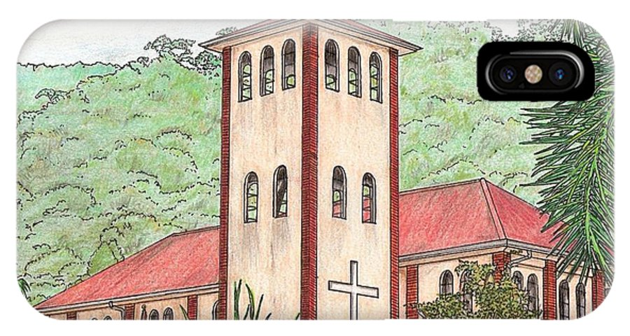 Church IPhone X Case featuring the drawing Church In The Jungle by Lew Davis