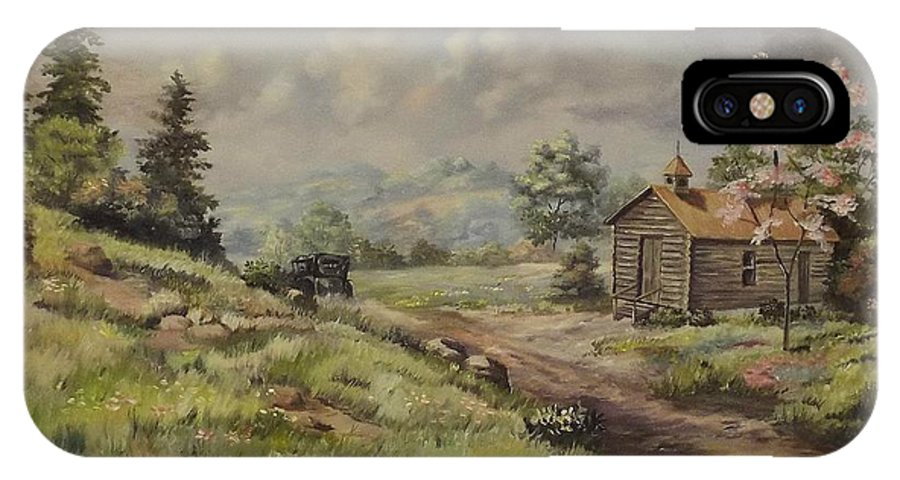 Landscape IPhone X Case featuring the painting Church In The Ozarks by Wanda Dansereau