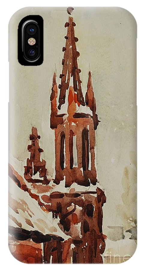 Church IPhone X Case featuring the painting Church by Oleg Konin