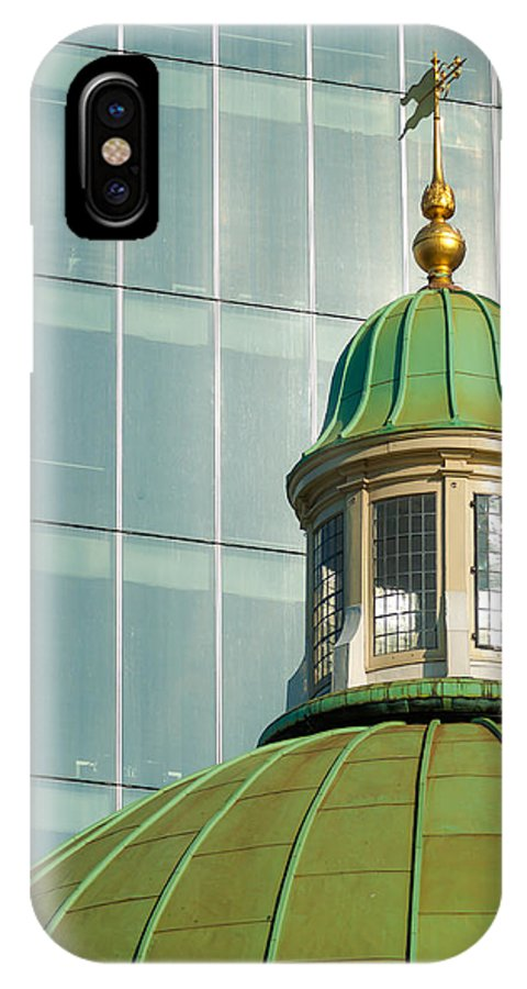 Texture IPhone X Case featuring the photograph Church Roof With Office Block by Chay Bewley