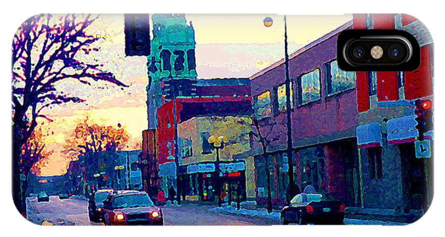 Churches IPhone X Case featuring the painting Church Street In Winter Melting Snow Sunset Reflections Montreal Urban City Landscape Scene Cspandau by Carole Spandau