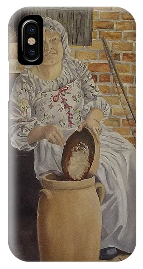 Historic IPhone X Case featuring the painting Churning Butter by Wanda Dansereau