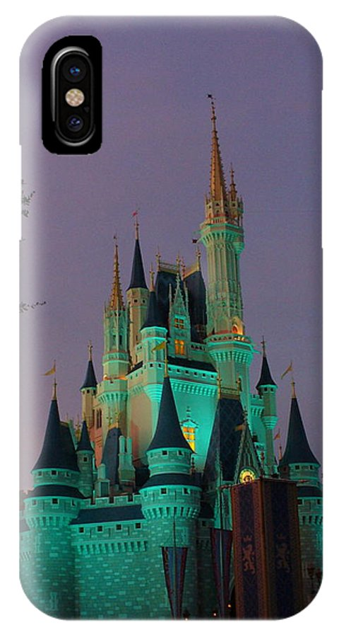 Disney Magic Kingdom IPhone X Case featuring the photograph Cinderella Castle At Night by Lingfai Leung