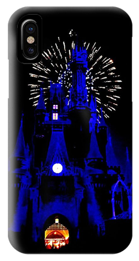 Disney IPhone X Case featuring the photograph Cinderella Castle Fireworks by Benjamin Yeager