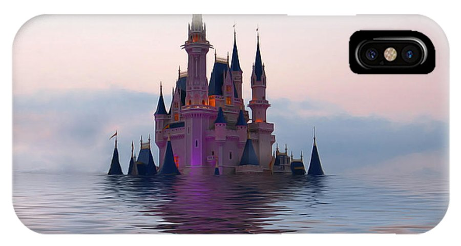Castle IPhone X Case featuring the digital art Cinderella Castle by Teresa Zieba
