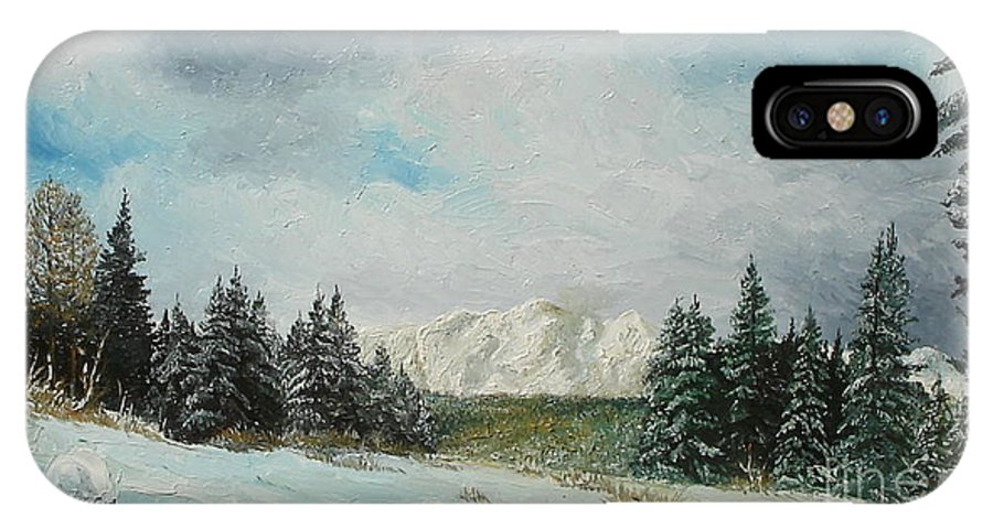 Winter IPhone X Case featuring the painting Cioplea by Sorin Apostolescu