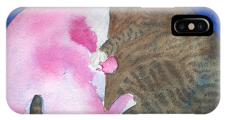 Fat Cats IPhone X Case featuring the painting Circle Cats by Christine Callahan