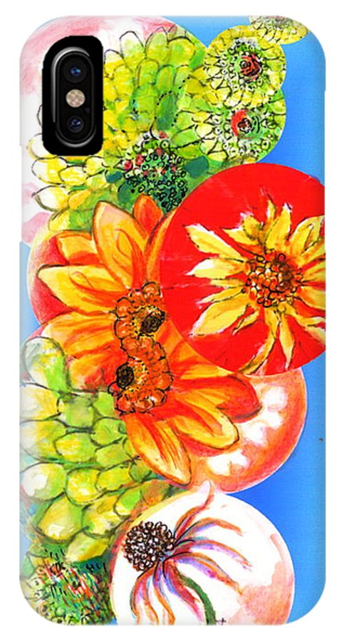 Flower IPhone X Case featuring the digital art Circles Of Flowers by Mary Armstrong