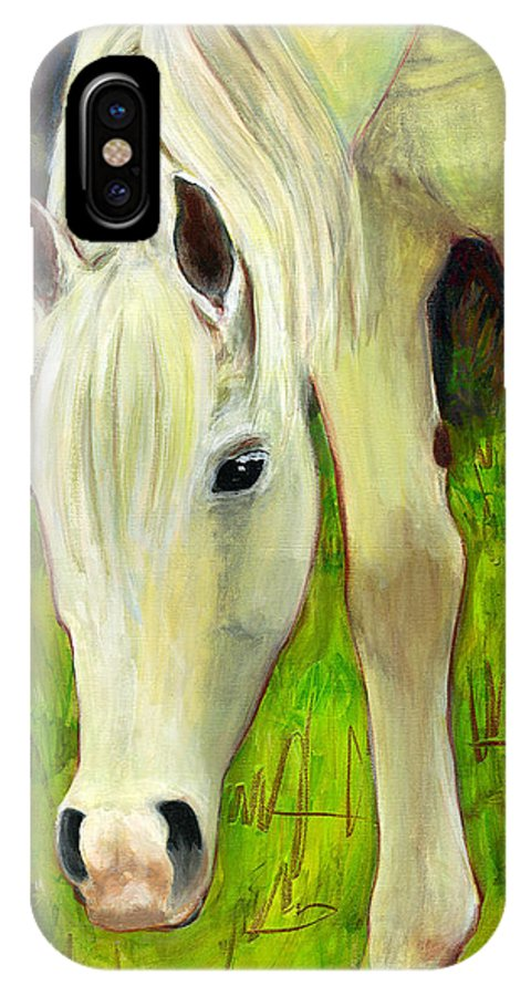 Horse Art IPhone X Case featuring the painting Cisco Sees Horse Art by Blenda Studio