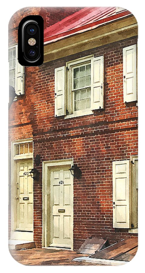 Street IPhone X Case featuring the photograph Cities - Philadelphia Brownstone by Susan Savad