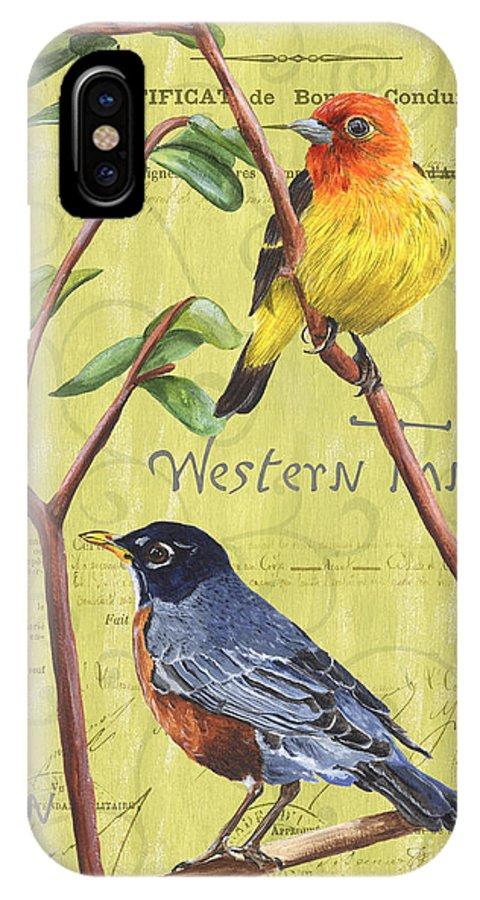 Bird IPhone X Case featuring the painting Citron Songbirds 2 by Debbie DeWitt