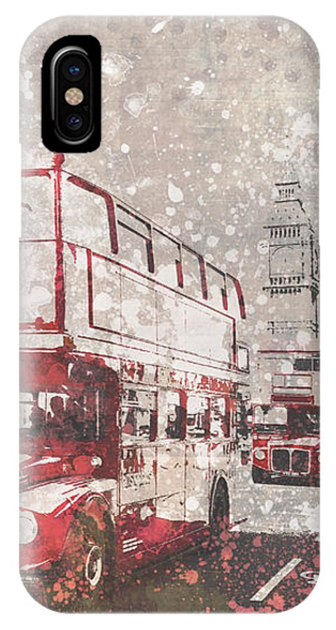 British IPhone X Case featuring the photograph City-art London Red Buses II by Melanie Viola