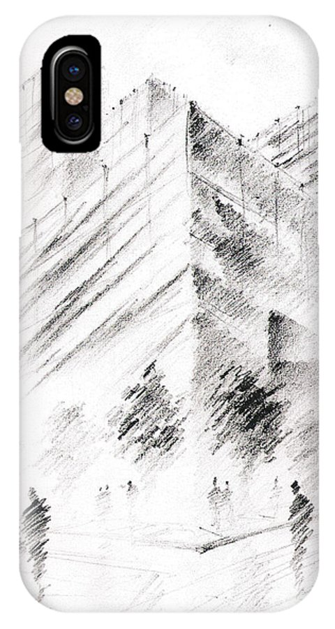 Building IPhone Case featuring the drawing City Building by Fanny Diaz