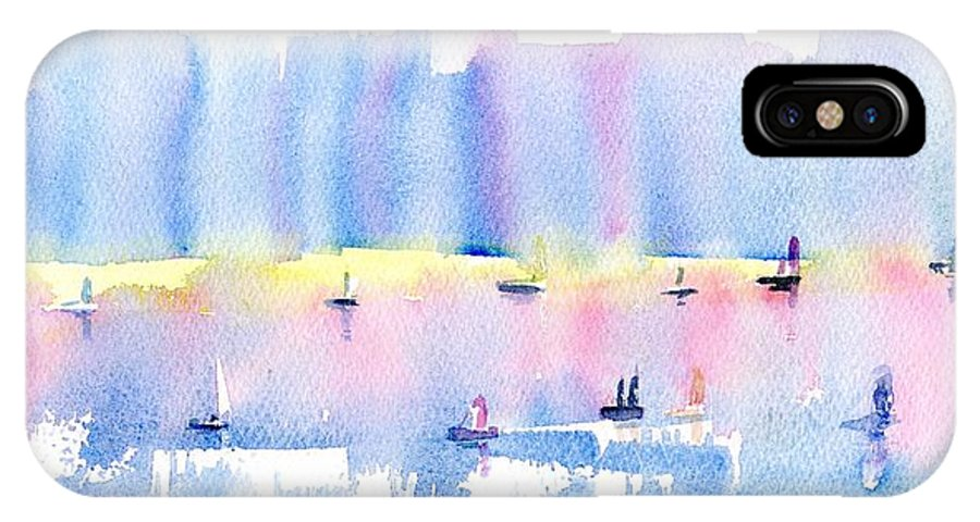 City IPhone X Case featuring the painting City By The Sea by Paul K Taylor