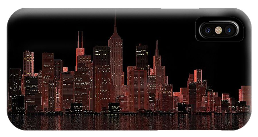 City IPhone X Case featuring the digital art Chicago City Dusk by Louis Ferreira
