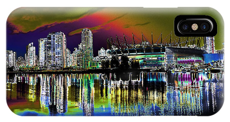 Vancouver IPhone X Case featuring the photograph City Fantasy by Lawrence Christopher