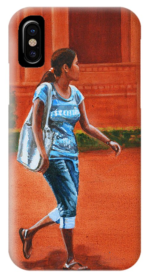 City IPhone X Case featuring the painting City Girl by Usha Shantharam