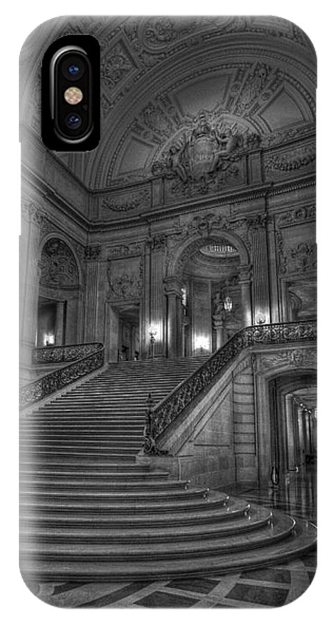 Black And White IPhone X Case featuring the photograph City Hall Grand Stairs by David Bearden