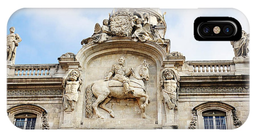 Statues IPhone X Case featuring the photograph City Hall Statues by Sylvie Bouchard