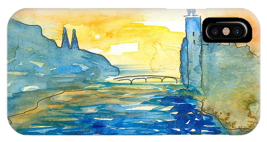 Landscape IPhone Case featuring the painting City Hall Stockholm by Christina Rahm Galanis
