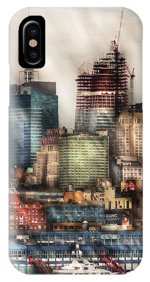 Savad IPhone X Case featuring the photograph City - Hoboken Nj - New York Skyscrapers by Mike Savad